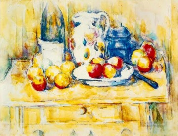 Still life Painting - Still Life with Apples a Bottle and a Milk Pot Paul Cezanne