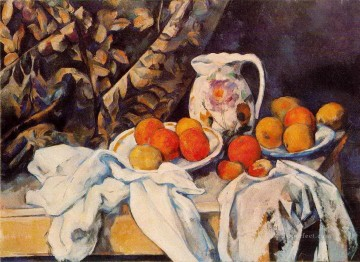 Still Life with Curtain and Flowered Pitcher Paul Cezanne Oil Paintings