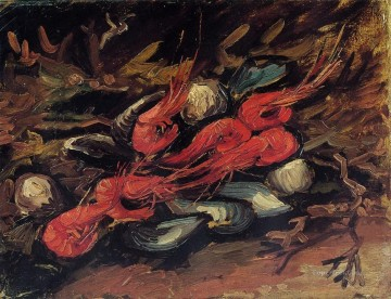 vincent van gogh Painting - Still Life with Mussels and Shrimp Vincent van Gogh