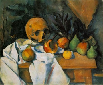 Still life Painting - Still Life with Skull Paul Cezanne