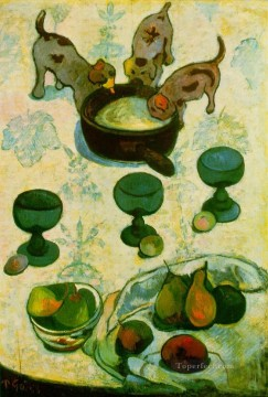 Still life Painting - Still Life with Three Puppies2 Post Impressionism Primitivism Paul Gauguin