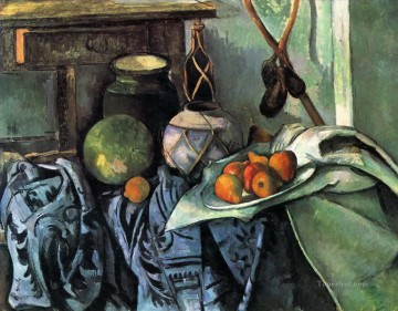 Still life Painting - Still Life with a Ginger Jar and Eggplants Paul Cezanne
