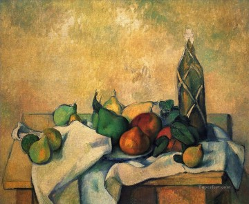 Still life Painting - Still life bottle of rum Paul Cezanne