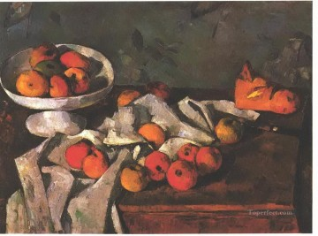 Still life Painting - Still life with a fruit dish and apples Paul Cezanne