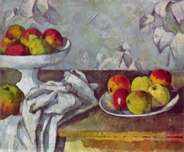 Still life Painting - Still life with apples and fruit bowl Paul Cezanne