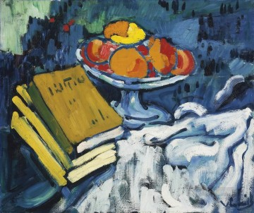 Impressionist Still Life Painting - Still life with books and fruit bowl Maurice de Vlaminck impressionistic
