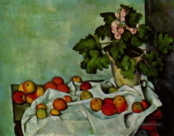 geraniums art - Still life with fruit geraniums Stock Paul Cezanne
