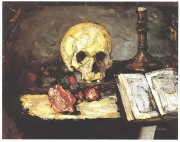 Still life Painting - Still life with skull candle and book Paul Cezanne