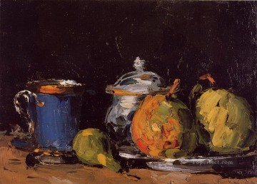 Still life Painting - Sugar Bowl Pears and Blue Cup Paul Cezanne Impressionism still life