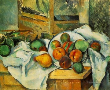 Still life Painting - Table Napkin and Fruit Paul Cezanne Impressionism still life