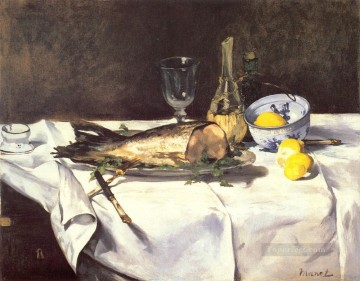 Still life Painting - The Salmon Impressionism Edouard Manet still lifes