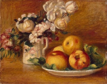 Impressionist Still Life Painting - apples and flowers Pierre Auguste Renoir still lifes