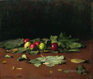 Still life Painting - apples and leaves 1879 Ilya Repin Impressionism still life