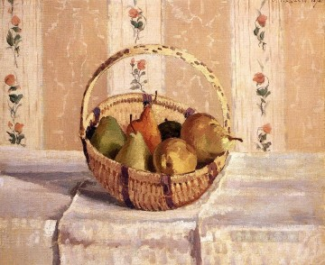 pears Oil Painting - apples and pears in a round basket 1872 Camille Pissarro Impressionism still life