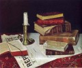 books and candle 1890 still life