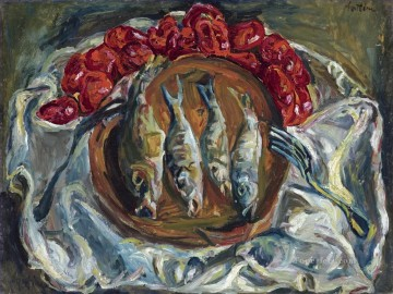 Impressionist Still Life Painting - fish and tomatoes 1924 Chaim Soutine impressionistic still life