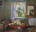 in the nursery Konstantin Somov impressionistic still life