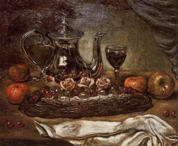 silver teapot and cake on a plate Giorgio de Chirico still life Impressionist Oil Paintings