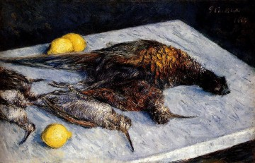 impressionists Oil Painting - Game Birds And Lemons Impressionists Gustave Caillebotte still lifes