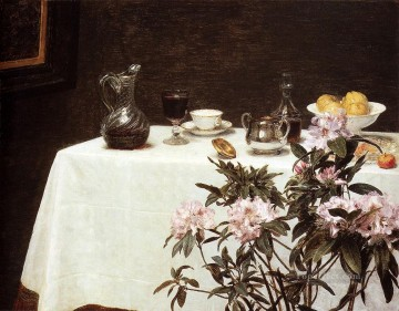 Still Life Corner Of A Table flower painter Henri Fantin Latour Oil Paintings