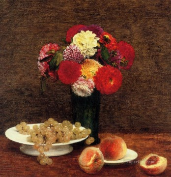 Still Life Dahlias in a Green Vase flower painter Henri Fantin Latour Oil Paintings