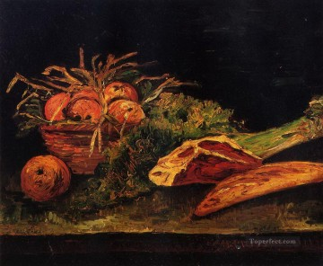 vincent van gogh Painting - Still Life with Apples Meat and a Roll Vincent van Gogh
