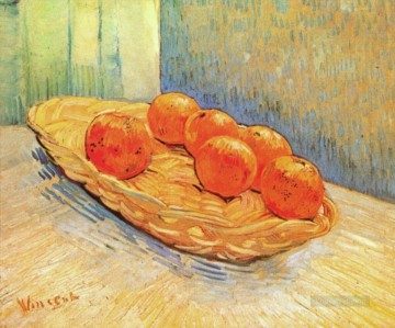 vincent van gogh Painting - Still Life with Basket and Six Oranges Vincent van Gogh