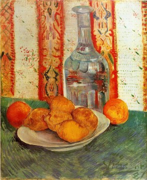 vincent van gogh Painting - Still Life with Decanter and Lemons on a Plate Vincent van Gogh