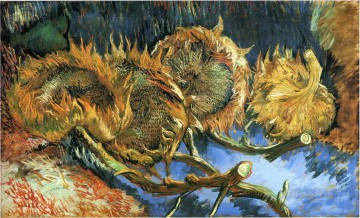vincent van gogh Painting - Still Life with Four Sunflowers Vincent van Gogh