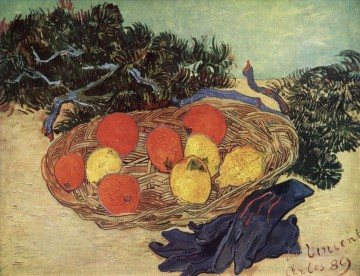 vincent van gogh Painting - Still Life with Oranges and Lemons with Blue Gloves Vincent van Gogh