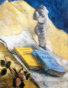vincent van gogh Painting - Still Life with Plaster Statuette a Rose and Two Novels Vincent van Gogh