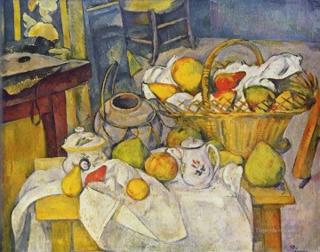 Still life Painting - Still life with basket Paul Cezanne