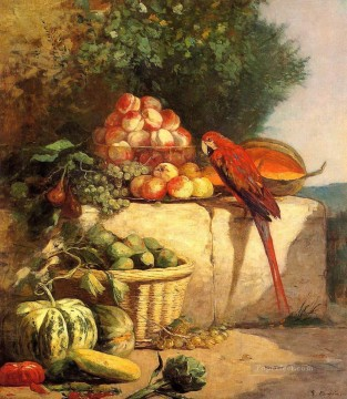 Still life Painting - Fruit and Vegetables with a Parrot Impressionism still life