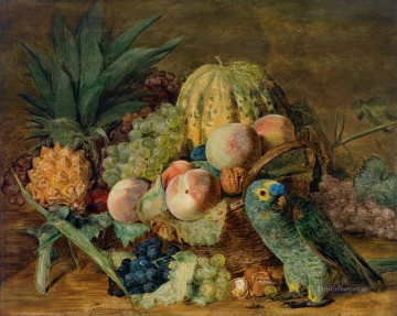 Still life Painting - green parrot and still life
