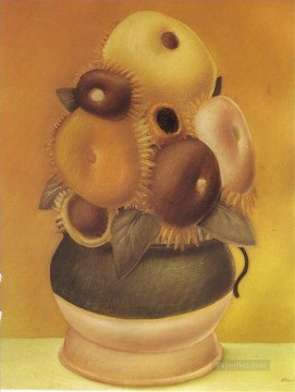 sunflower sunflowers Painting - Sunflowers Fernando Botero still life decor