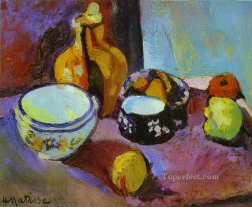 fauvism - Dishes and Fruit abstract fauvism Henri Matisse modern decor still life