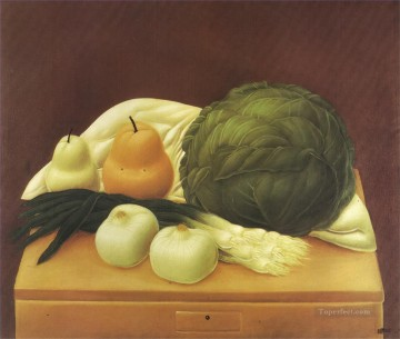 Chen Oil Painting - Kitchen Table 2 Fernando Botero still life decor