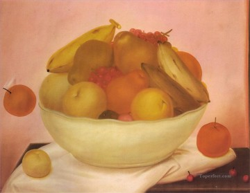 Still life Painting - Still Life with Orange Falling Fernando Botero