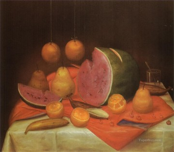 Still life Painting - Still Life with Watermelon 2 Fernando Botero
