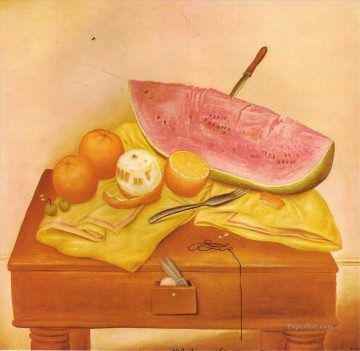Still life Painting - Watermelons and Oranges Fernando Botero still life decor