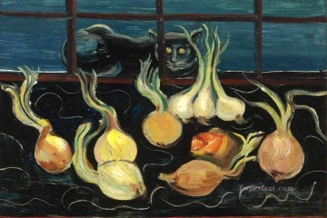 cat cats Painting - still life with cat and onions 1928 Boris Dmitrievich Grigoriev modern decor