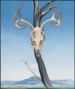 Still life Painting - Deer Skull with Pedernal Georgia Okeeffe still life decor