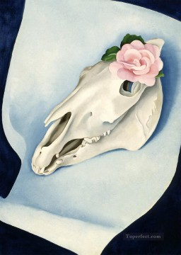 Artworks in 150 Subjects Painting - Horse Skull with Pink Rose Georgia Okeeffe still life decor
