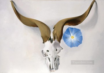 Still life Painting - Ram Head Blue Morning Glory Georgia Okeeffe still life decor