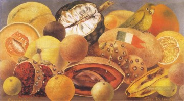 Still life Painting - Still Life with Parrot and Flag Frida Kahlo