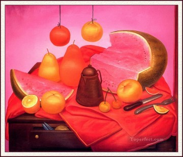 Still life Painting - Still Life with Watermelon Fernando Botero
