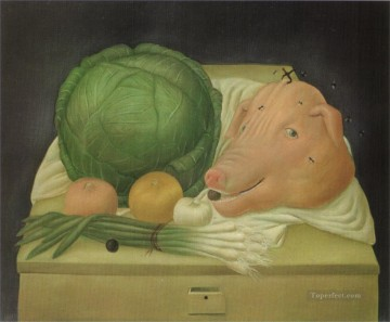 Still life Painting - Still Life with the Head of Pork Fernando Botero