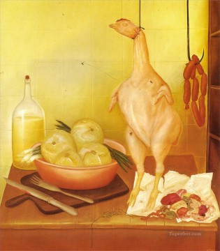 Chen Oil Painting - Kitchen Table 3 Fernando Botero still life decor