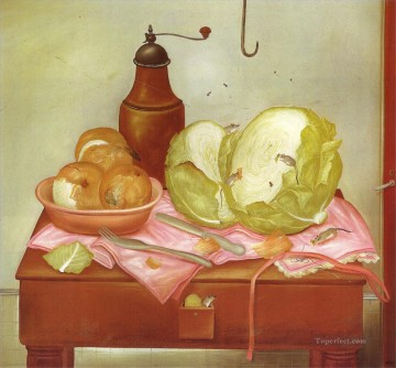 Still life Painting - Kitchen Table Fernando Botero still life decor