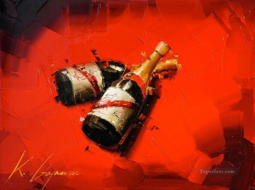 Still life Painting - Wine in red 3 KG still life decor